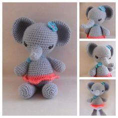 claudia la elefante  lana acrílica,ojos de plástico,fibra siliconada crochet
