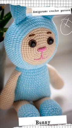 Crochet Bunny Pattern, Crochet Rabbit, Cute Crochet, Crochet Toys, Crochet Patterns, Doll Toys, Dolls, Baby Dinosaurs, Rabbit Toys