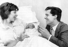 Jeremy Brett and Anna Massey with 3-day-old David, August 17, 1959. They were married May 26, 1958 and were divorced Nov. 9, 1962.