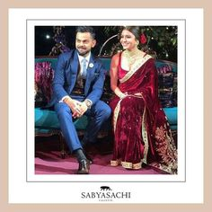 For her engagement, Anushka @anushkasharma wanted to wear a Sabyasachi velvet saree. And we made it in our signature Gulkand Burgundy. It was hand-embroidered using miniature pearls and the finest quality zardosi and marori. She wore a stunning uncut diamond and pearl choker with matching studs. The entire look was complemented with kohl-rimmed eyes, red roses and our now iconic micro dot bindi. For all jewellery related queries, kindly contact sabyasachijewelry@sabyasachi.com #Sabyasachi…