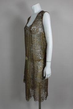 1920's Gold Lace Dress with Flower Detail, France.