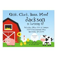 438 best farm and farm animal birthday party invitations images on