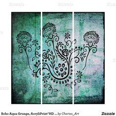 Boho Aqua Grunge, AcryliPrint®HD Triptych Wall Art #triptychs #homedecor #walldecor #largeart #acrylicpanels
