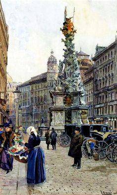 Ernst Graner (1865-1943) Vienna, Illustration, Louvre, Victorian, Watercolor, Paris, Travel, Belle Epoque, Painting Art