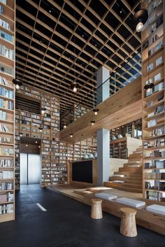 beijing fenghemuchen space design builds yue library as wooden forest of books in hangzhou - Studio II - Library design - Zaha Hadid Architecture, Peter Zumthor Architecture, Le Corbusier Architecture, Architecture Design Concept, Plans Architecture, Library Architecture, Minimalist Architecture, Modern Architecture House, Futuristic Architecture