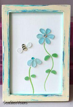 Custom sea glass art created by Sea Glass Visions