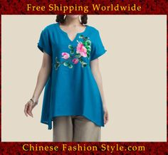100% Handmade Pure Cotton Blouse Shirt Top - Oriental Chinese Embroidery Art #106 http://www.chinesefashionstyle.com/jackets-blouses/