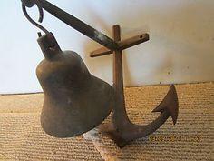 ANTIQUE, BRONZE, SHIP'S BELL & ANCHOR BRACKET in Antiques, Maritime, Bells & Whistles | eBay