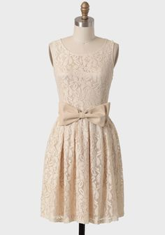 $49.99 Beautiful!  This is like the more grown-u-p version of a dress I wore all the time when I was little.  Meringue Lace Belted Dress In Cream | Modern Vintage Dresses