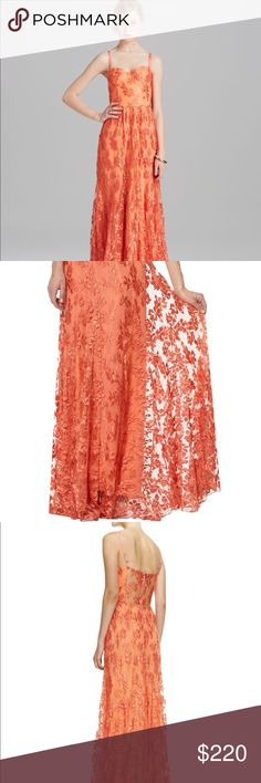 Alice and Olivia Lace Tyler Dress This is a beautiful full length gown with a bustier top and a sheer back lace panel. It retails for $797 and is sold out from Shopbop and other retailers. This is new with tags and perfect for a wedding or formal event Alice + Olivia Dresses Maxi
