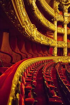 Theatre seating at Palais Garnier - Opera House, Paris Paris France, Charles Garnier, Paris Opera House, Gold Aesthetic, Out Of Touch, Belle Villa, Theater Seating, Grand Staircase, Phantom Of The Opera