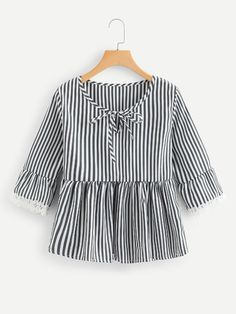 To find out about the Tie Neck Lace Trim Striped Top at SHEIN, part of our latest Blouses ready to shop online today! Indian Fashion Dresses, Girls Fashion Clothes, Summer Fashion Outfits, Girl Fashion, Frocks For Girls, Dresses Kids Girl, Blouse Styles, Blouse Designs, Velvet Dress Designs