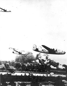 B-24 Liberator bombers over Ploesti oil fields during Operation Tidal Wave Romania 1 August 1943.