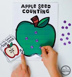 Apple Seed Counting Games for Preschool #preschool #preschoolworksheets #appletheme #appleworksheets #planningplaytime Preschool Apple Theme, Apple Activities, Preschool Colors, Kids Learning Activities, Teaching Kindergarten, Fun Math, Preschool Activities, Preschool Worksheets, Apple Coloring