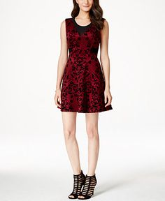 Material Girl Juniors' Printed Illusion Fit-and-Flare Dress, Only at Macy's - Juniors Dresses - Macy's