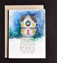 Seasons greetings cardHand painted Original Watercolor