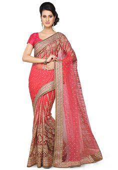 Buy Hand Embroidered Net Saree in Fuchsia online, work: Embroidered, color: Fuschia, usage: Wedding, category: Sarees, fabric: Net, price: $293.60, item code: SMU3118, gender: women, brand: Utsav