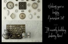 Antique cookie cutters all over the kitchen wall. Cooking Ware, Bakeware, Cookie Cutters, Clever, Lettering, Cookies, Antiques, Wall, Holiday