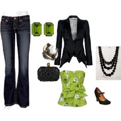 Green and Black, created by melissa-maylon-collins on Polyvore