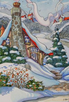 """Daily Paintworks - """"A Warm Welcome at the End of the Lane Storybook Cottage Series"""" - Original Fine Art for Sale - © Alida Akers House Illustration, Illustrations, Watercolor Illustration, Watercolor Paintings, Watercolour, Cute Cottage, Cottage Art, Storybook Cottage, Art Vintage"""