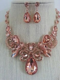 Rose Gold and Peach Rhinestone Downton Abbey Vintage Style Bib Necklace and Earring Set...Wedding / Bride / Bridal