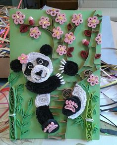 Panda bear, cherry blossoms, bambus by quilling