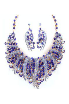 Emmaly Statement Necklace Set in Indigo Crystal
