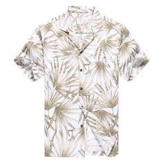 5ff1f612 Hawaii Hangover - Made in Hawaii Men's Hawaiian Shirt Aloha Shirt Bamboo  Leaf Allover in White Grey - Walmart.com