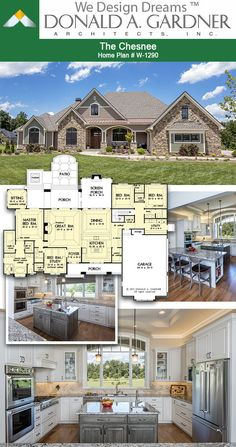 Dream Kitchen Of The Chesnee House Plan Sq Ft Beds ! traumküche des chesnee house plan sq ft betten Dream Kitchen Of The Chesnee House Plan Sq Ft Beds ! Brick House Plans, Porch House Plans, Open House Plans, House Plans One Story, Family House Plans, Craftsman House Plans, Country House Plans, Dream House Plans, Cool House Plans