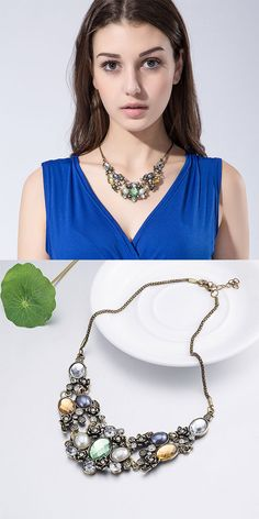 US$8.99 + Free shipping. Vintage necklace, colorful crystal necklace, flower accessories, women jewelry.