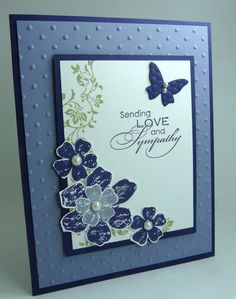 One of my customers reminded me that I hadn't posted this card. I did this design a while back with other colors. The stamp sets are Vintage Vogue & Love & Sympathy. Card stock, Concord Cr...
