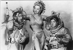 Mari Blanchard with Bud Abbott and Lou Costello promo photo for Abbott and Costello Go To Mars, Charles Lamont. Abbott And Costello, Hollywood Stars, Classic Hollywood, Laurel Et Hardy, Marie Windsor, Bud Abbott, Whos On First, Comedy Duos, Anita Ekberg