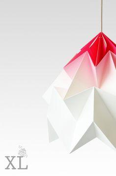 Abażur SnowPuppe Origami Ćma XL cieniowany biało-różowy