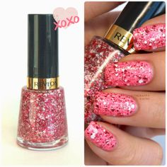 The Happy Sloths: Valentine's Day Nails: Revlon Graffiti Top Coat (678) Review and Swatches