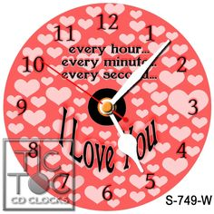 eBlueJay: S-749-W CD CLOCK-VALENTINE LOVE HEARTS-WITH WHITE HANDS