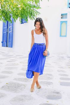 Like Royal blue on skirts/jeans/pants and this midi skirt makes a great silhouette