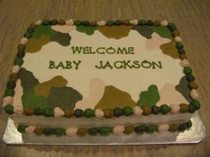 Pinterest Baby Boy Shower Ideas   Counselor's Confections: Camo Themed Baby Shower Cake