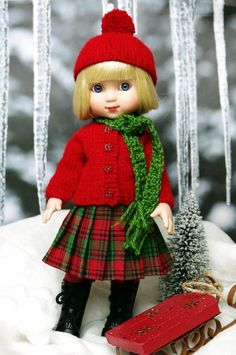 *WiNTeR BeRRy* a handknit sweater,hat,scarf,& skirt for Ann Estelle, Patsy DoLLs #ClothingAccessories. SOLD for $66.57 on 1/15/15