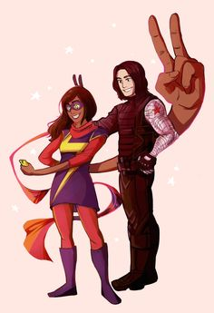 Lol Kamala is so happy and Bucky is like wtf I'll just smile why the ffff can she make her body big idk I will ask ma bestie Steviekins and Nat and then prolly Sammy and then tony but I'll have to chat with pepper first, but I gotta talk to hulk first, but I gotta get my knife from Clint.... Yeah I did that. Suck it.