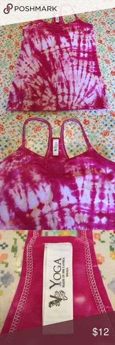 VS Yoga Active Tie Dye Pink & White Top Zen it out in the top! Gym guru. Tie dye diva. Built in bra so your girls don't shake out while you're crushing it. Home of cute dog and no smoke. VS Yoga Tops