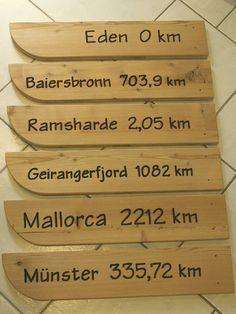 Allgäuer Holzschilder mit Angaben zur Entfernung von Orten