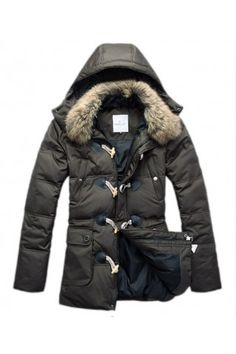 Moncler Men's Button Fur Collar Army Green Coat