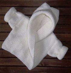 The Design Studio: Baby Hooded Wrap Cardigan Hand Knitting Pattern