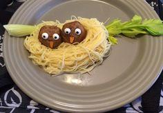 Spaghetti with meatball birds