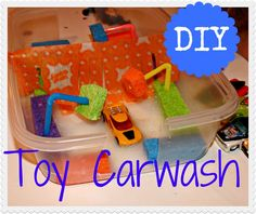 DIY toy carwash for them to wash their favourite toy car.