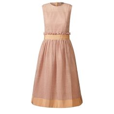 Orla Kiely: Grid Eyelet Sleeveless Dress with fitted bodice, gathered waist and pearl button back closure. Wide grosgrain band detail at waist and hem. Fully lined in matching taffeta.    Length: 41.2in (high shoulder point)