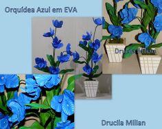 Arteirices da Dru: Orquídea em EVA Azul