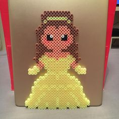 Princess #Belle #Beauty #Beast #MadeByMe #Cute #Disney #Movie #Princess #Yellow #Skönheten #Odjuret #BeautyAndTheBeast #TheBeast #SkönhetenOchOdjuret #PerlerBeads #Perler #Beads #Ipad #Gold #Pärlplattor