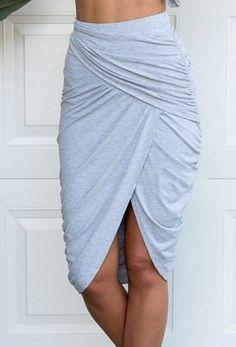 Stylish Women's Solid Color Wraparound Skirt