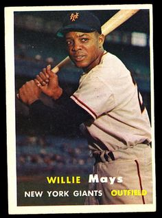 1957 Topps Willie Mays Excellent NY Giants Baseball Card Values, Old Baseball Cards, Baseball Star, Sports Baseball, Baseball Players, Giants Baseball, Baseball Teams, Baseball Pants, Sports Teams